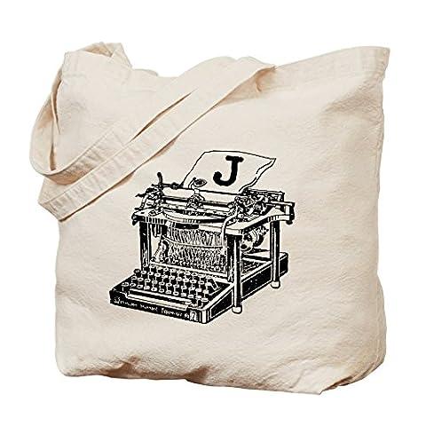 CafePress–J Antiken Schreibmaschine Monogramm–Leinwand Natur Tasche, Reinigungstuch Einkaufstasche