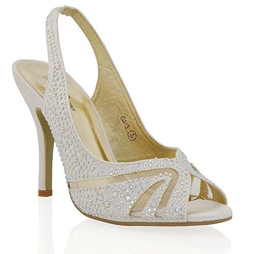 Nuovo Sandalo Donna Matrimonio Peep Toe Satinato Finto Diamante Avorio Satinato