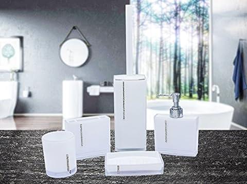 home-ideas 5Stück High Glossy mit Badezimmer Zubehör-Sets–Fünf Brillante Farben Winter-Weiß