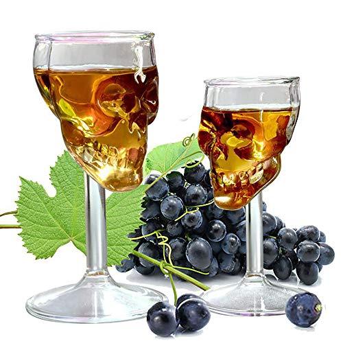 YXYXN 75ml Totenkopf Becher, Totenkopf Schnapsglas, Transparent Bier Wein Tasse Flasche Glas Totenkopf Tasse Rotwein Nüchtern Küchenaccessoires Hohe Cocktailgläser Bar Dekoration, 2St (Gläsern Crystal Rotwein)