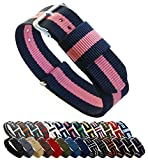 Barton, cinturino per orologio, in nylon balistico (18 / 20 / 22 / 24 mm), unisex, Navy/Pink, 22mm - Long (11')