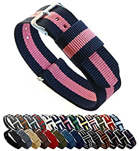 "Barton, cinturino per orologio, in nylon balistico (18 / 20 / 22 / 24 mm), unisex, Navy/Pink, 22mm - Long (11"")"