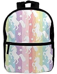 36c2b86c8b QYFBSKAS Rainbow Unicorn School Book Backpack Shoulder Bag Schoolbag for Girls  Boys