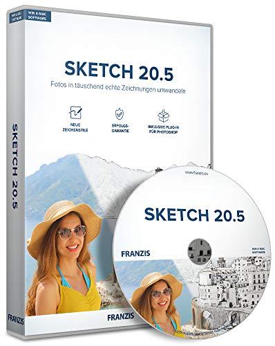 FRANZIS Sketch 20.5|Bildbearbeitung|für Windows und Mac|Fotos in täuschend echte Zeichnungen umwandeln|incl. Photoshop-Plug-in|Disc|Disc -
