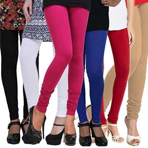Krystle Women\'s Cotton Leggings (Combo of 6) (Black,White,Pink,Beige,Red & Navy Blue)