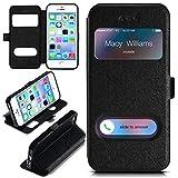 moex Apple iPhone 5S   Hülle mit Sicht-Fenster Schwarz Comfort Cover Stand-Funktion Schutzhülle Ultra-Slim Handyhülle für iPhone 5/5S/SE Case Flip Handy-Tasche