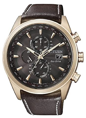 Citizen Herren-Armbanduhr XL Analog Quarz Leder AT8019-02W