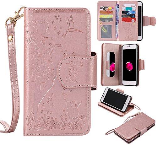 us / 8 Plus Schutzhülle, [9 Card Slots] PU Leder Flip Wallet Case Leder Tasche Bumper Stand Funktion Kartenfächer Magnet Closure HandyHülle für iPhone 7 Plus / 8 Plus - Rose Gold ()