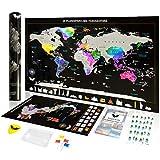Cartina Mondo da Grattare - Mappamondo da grattare + Cartina Geografica Italia | Imperdibile Novità: Stickers Emoticons + Design Esclusivo | Idea Regalo Perfetta per Viaggiatori - exsusia