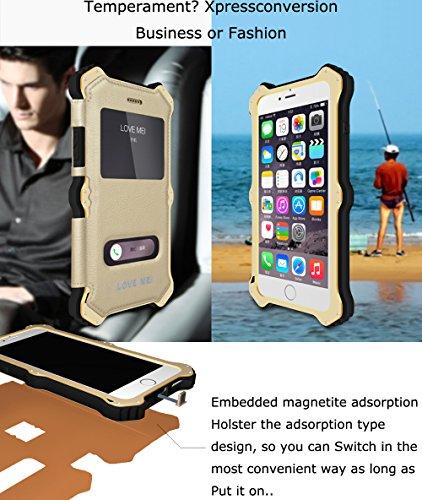 Love Mei [MK2] Étui pour Apple iPhone 6, récepteur de charge sans fil Qi standard résistant aux chocs en aluminium métal étui avec housse de luxe en cuir et en verre Gorilla Glass pour * * * * * * * * blanc