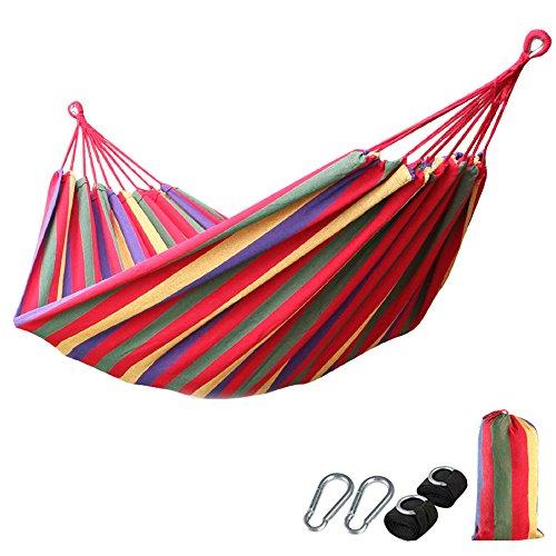 XLORDX Outdoor Camping Garten und Reisen Ultraleichte Nylon Hängematte Mehrpersonen 210 x 150 cm für 2 Personen, Belastbarkeit bis 300 kg Regenbogen