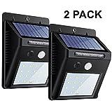 ZEEFO 2Pack 20 LEDs Luces Solares para Exteriors, Luces de Movimiento Super Brillantes 3 Modos con...