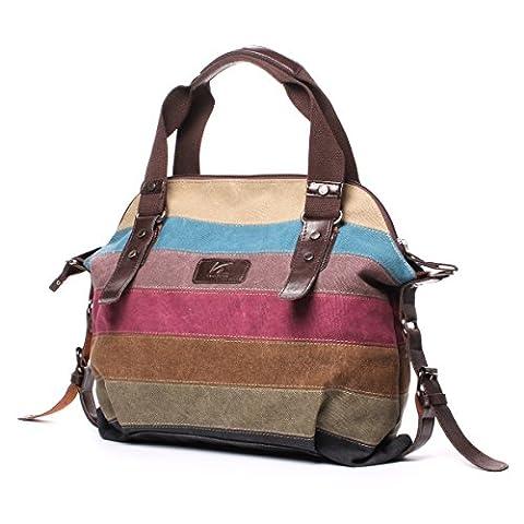 La Desire Women's Canvas Multi-Color Striped Top Handle Shoulder Bag Tote Handbag Purse Cross body Bag
