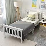 Modern Luxe Holzbett Einzelbett aus Bettgestell mit Lattenrost Holzbett mit Kopfteil - Anzug für 200 x 90 cm Matratze Massivholz Kinderbett Jugendbett Kiefer massiv Weiß lackiert Gästebett Bett Weiß