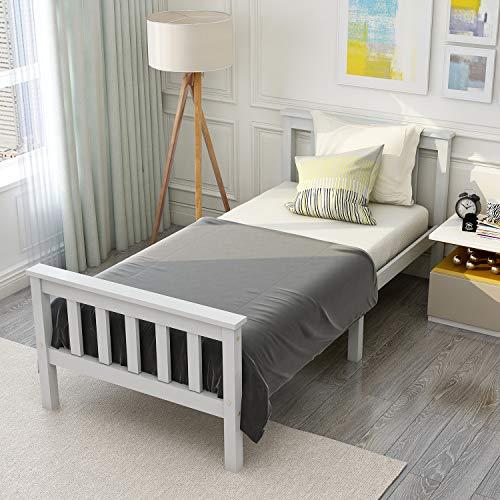 Modern Luxe Holzbett Einzelbett aus Bettgestell mit Lattenrost Holzbett mit Kopfteil - Anzug für 200 x 90 cm Matratze Massivholz Kinderbett Jugendbett Kiefer massiv Weiß lackiert