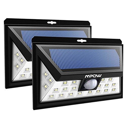 Mpow 2 Stück 24 LED Solarleuchten Weitwinkel LED Solar Wandleuchte Außen Solar Betriebene Außenleuchte, Wandleuchte, Energiesparende Wasserdichte 3 Modi Sicherheit Bewegungs-Sensor-Licht für Garten, Patio, Deck, Hof Sensor Wand Licht