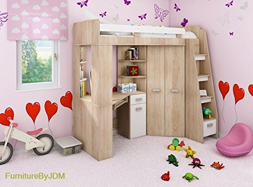 High Sleeper/Bunk Bed/Entresole - ALL IN ONE Right Hand-side Stairs - Kids/Children Furniture Set. Bed, Wardrobe, Shelves, Desk (Sonoma Oak - White)