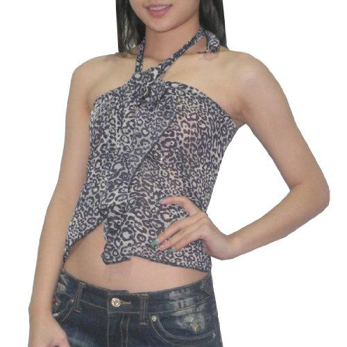 Damen Thai Exotic Sexy Summer Halter Top / Clubwear Leopard