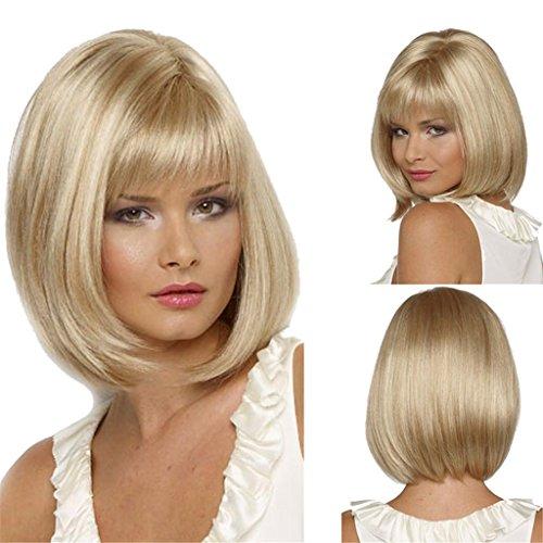 AN-LKYIQI Kurze Haare Perücke natürlicher wie Echthaar Cosplay Perücken ordentlich knallt Bob (Kostüme Lady Dickens)