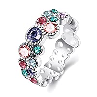 Lekima Hollow Ring Colorful Cubic Zircon Silver Plated Tin Alloy Bling Charm Romantic Party Christmas Valentine's Day Jewellery Gift For Ladies Women #Q