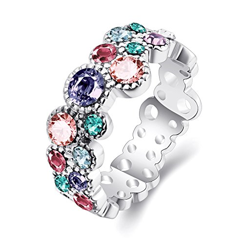 Blue Green Red Purple Pink Cubic Zircon Rainbow Life Wedding Band Engagement Promise Ring For Women Girl Party Birthday Gift