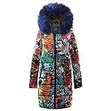 Honestyi Damen Winter Lange Daunen Baumwolle Damen Parka Kapuzenmantel Steppjacke Outwear Damen Lange Baumwolljacke Daunen Baumwolldruck(Blau,L)