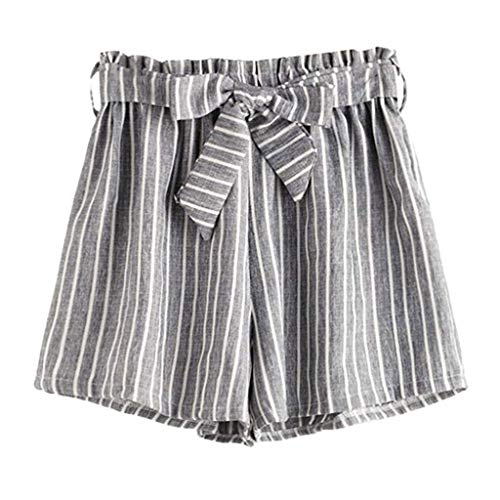 MOTOCO Summer Women's Striped Wild Small Fresh Bow tie Casual Shorts 2019 New Size 10-18(S(10),Gray)