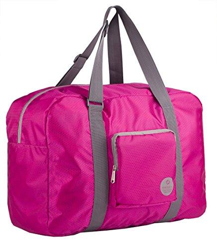 Wandf Leichter Faltbare Reise-Gepäck Handgepäck Duffel Taschen Übernachtung Taschen/Sporttasche für Reisen Sport Gym Urlaub Weekender handgepaeck (40L Rosa)