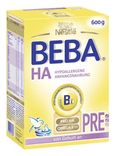 Beba HA PRE Hypoallergene Anfangsnahrung von Geburt an, 3er Pack (3 x 600 g)