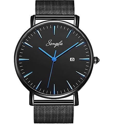 SONGDU Herren Unisex Ultra dünn Analog Quarz Schwarz Minimalistisch Armbanduhr mit Mode Datum und Edelstahl Milanese Mesh Band (Schwarz - (Sportuhr Herren Blau)