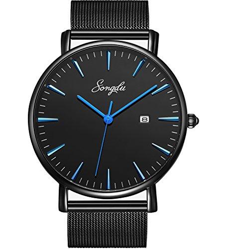 SONGDU Herren Unisex Ultra dünn Analog Quarz Schwarz Minimalistisch Armbanduhr mit Mode Datum und Edelstahl Milanese Mesh Band (Schwarz - Blau)