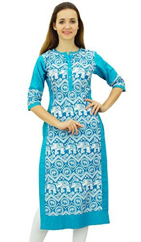 Damen Kurta (Phagun Damen Designer Glatt Blau Kurta 3/4 Hülse gedrucktes beiläufige Kurti - 44)