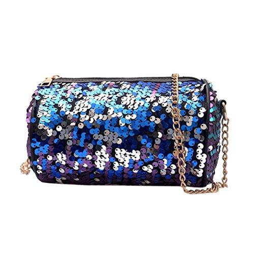 Messenger Crossbody Bag Hipster (Damen Mode Taschen Hffan Frauen Pailletten Kette Schultertaschen Handtasche Shopper Messenger Bag Leder Crossbody Tasche Münztasche Handy (7 cm (L) * 12 cm (W) * 12 cm (H) / 6,69 (L) * 4,72, Blau))