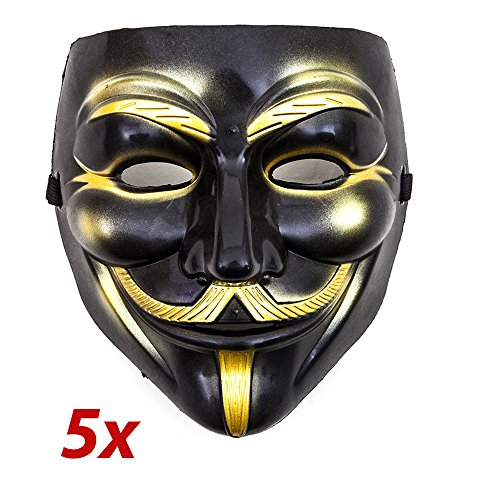 aske Schwarz Gold Mask Guy Fawkes Anonymous Karneval Kostüm (Anonymous Maske Kostüm Ideen)