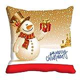 "meSleep Abstract Satin Merry Christmas Digitally Printed Cushion Cover - 16"" x 16"", Multicolour"