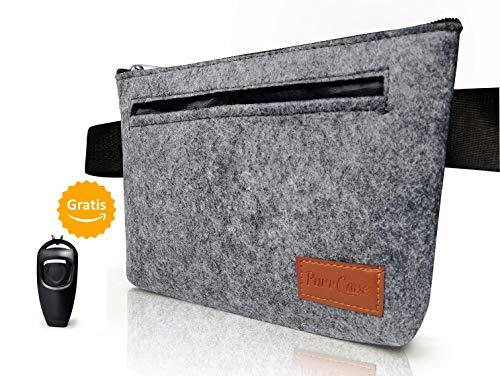 Hunde Leckerli-Tasche von PurrCave mit gratis 2 in 1 Hundeclicker | Futterbeutel in grauem Filz | Stylische Futtertasche für Hundetraining und Ausbildung