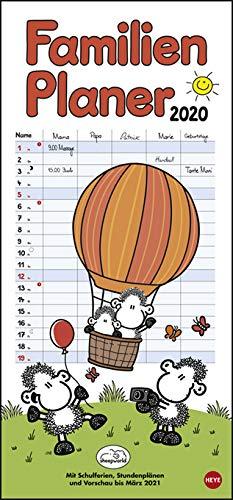 Sheepworld Familienplaner - Kalender 2020 - Heye-Verlag - Familienkalender - Mit 5 Spalten mit Schulferien - 21 cm x 45 cm