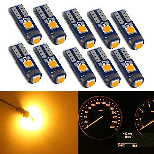 Hsun T5 74 73 2723 2721 base LED Lampadina con 3 pezzi LED SMD cuneo lampadina LED per auto auto cruscotto strumento luce di lettura pannello del computer lampada 12 V 50LM (T5-Ambra)