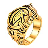 U7 Anello Uomo Donna Grande Occhio di Horus Sfinge Faraone Egiziano Egitto Antico, Gioiello Stile Vintage Hip Hop, Acciaio Placcato Oro, Oro - Confezione Regalo