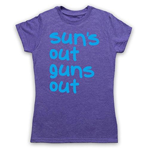 Sun's Out Guns Out Gym Slogan Damen T-Shirt Jahrgang Violett