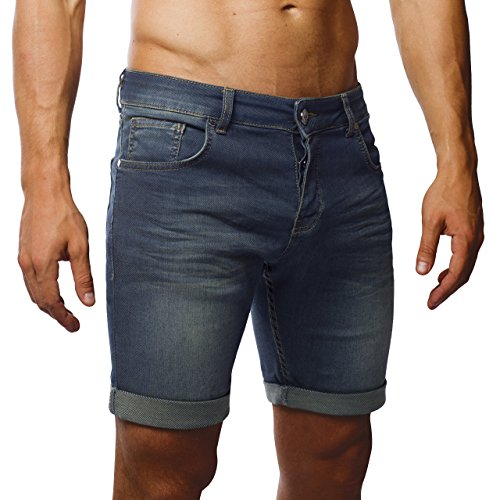 LEIF NELSON Herren Jeans Shorts LN1397; W38; Gewaschen Dunkel Blau (Jeans-hose Dunkle)