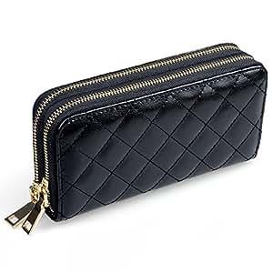 Hengying doppia griglia con cerniera, da donna, elegante, a portafoglio, in pelle a portafoglio con chiusura a zip, portamonete e porta carte di credito per frizione