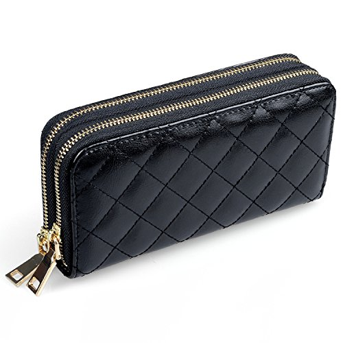 Portemonnaie Damen Lang, Hengying Elegante Leder Damen Lange Reißverschluss Geldbörse mit 2 Reißverschlüsse + Schlüsselanhänger (Mit Brieftasche Reißverschluss)
