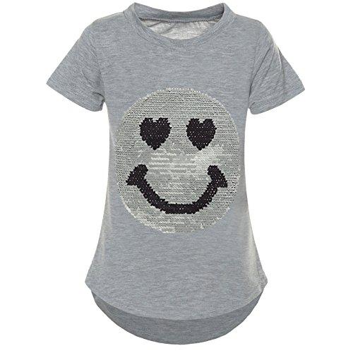 BEZLIT Kurzarm Mädchen T-Shirt Wende-Pailletten Motiv Glitzer Bluse 21287, Farbe:Grau;Größe:116 (Kinder Yoga T-shirt)