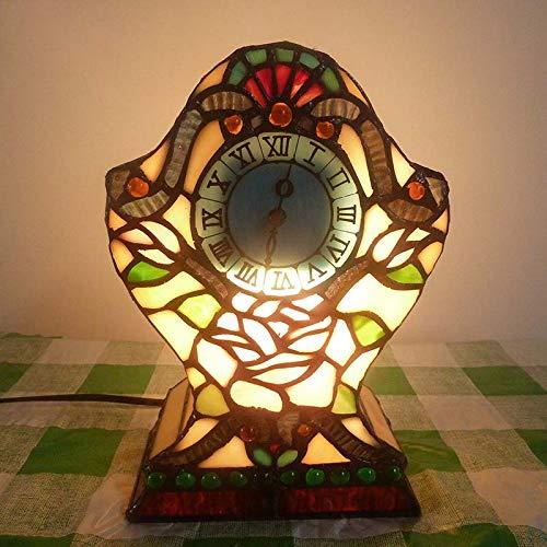 QCKDQ 8 Zoll Schreibtisch Licht, Tiffany Stil Blume Und Uhr Tischlampe, Wohnzimmer Nacht Schreibtisch Kleiner Tisch Licht Dekorative E27,2