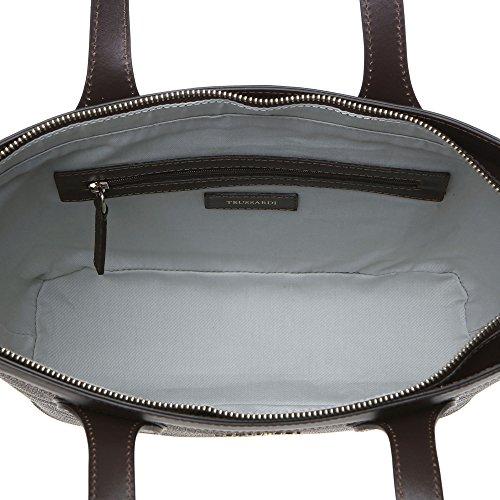 Trussardi Femme Petit sac provisions avec de grandes poignées, véritable cuir veau 32x23x10 Cm Mod. 76B110M Marron foncé