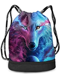 f68749614427 RAINNY Men & Women Waterproof Large Storage Drawstring Backpack - Pink And  Blue Cool Wolf Moon Art Cinch Backpack Sackpack Tote…
