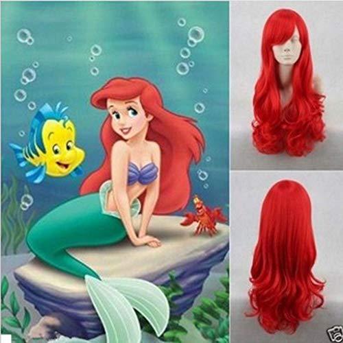 TianWlio Perücken DamenKleine Meerjungfrau Ariel Perücke Gewellte Cosplay Perücke Synthetische Lange Rote Lockige Kostümperücken (Kleine Meerjungfrau Perücken)