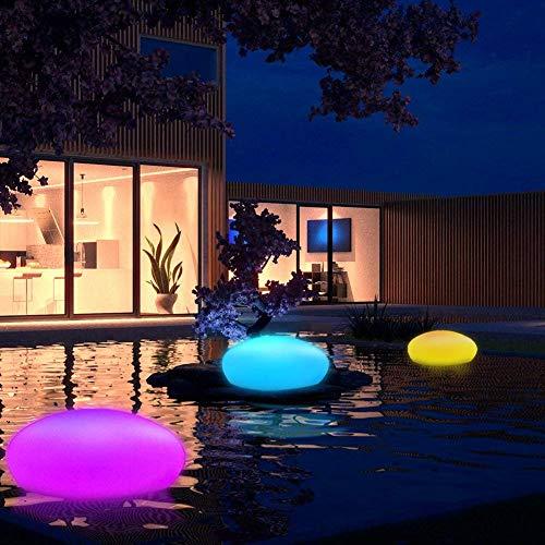 Große LED Solarlampe Garten Solarleuchte mit Fernbedienung Solar Stein Kugel Bodenleuchte Dekoleuchte Außen Innen Wasserdicht 8 Farben Bunt/Weiß, 32x23x12cm
