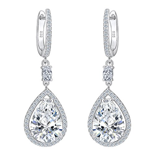 EVER FAITH® Damen 925 Sterling Silber Cubic Zirkonia Hochzeit Tropfen Pierced Dangle Ohrringe klar
